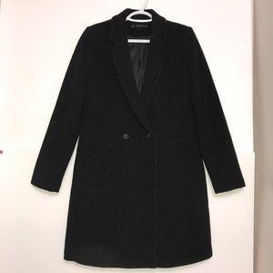 Zara Black Classic Wool Buttoned Long Trench Coat